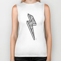 lightning Biker Tanks featuring Lightning by Amber Lily Fryer