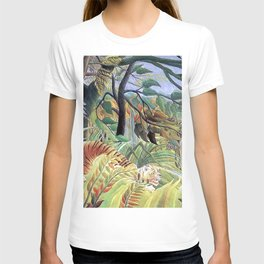 Tiger in a Tropical Storm (Surprised!) by Henri Rousseau 1891 // Jungle Rain Stormy Weather Scene T-shirt