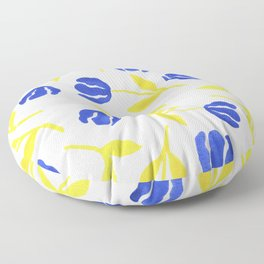 Blue and Yellow Floral Floor Pillow