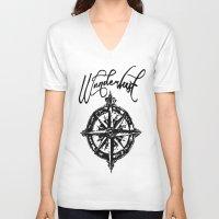 wanderlust V-neck T-shirts featuring Wanderlust  by DannyAlaska