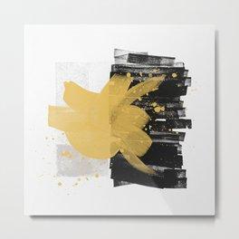 114-10, Mustard yellow, Black & Light Grey, Watercolor Brush Strokes, Trendy   home decor, Metal Print