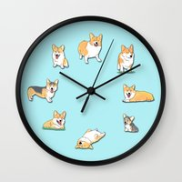 corgi Wall Clocks featuring Corgi by okayleigh