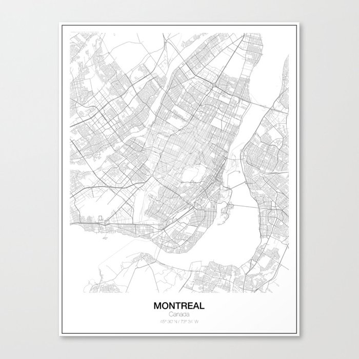 Canada Map Montreal.Montreal Canada Minimalist Map Canvas Print By Resfeber Society6