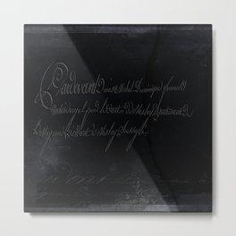 vintage stone throw deep board script texture Metal Print