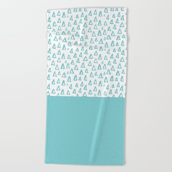 Triangles Mint Beach Towel