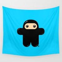 ninja Wall Tapestries featuring Wee Ninja by Shawnimals