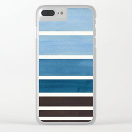 Green Blue Minimalist Watercolor Mid Century Staggered Stripes Rothko Color Block Geometric Art Clear iPhone Case