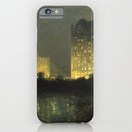 Vintage Night Painting of The Plaza NYC iPhone Case