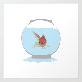 Stuck Goldfish Art Print