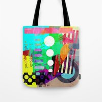 good vibes Tote Bags featuring Good Vibes by Lynsey Ledray