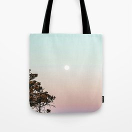 Rainbow Color Sunset // Incredible Clear Sky Photograph Through the Forest Trees Tote Bag