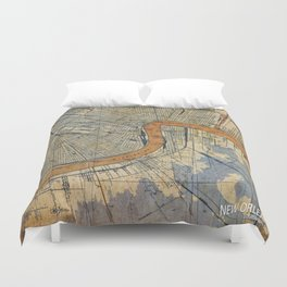 New Orleans Louisiana 1932 vintage map, NO old colorful artwork Duvet Cover