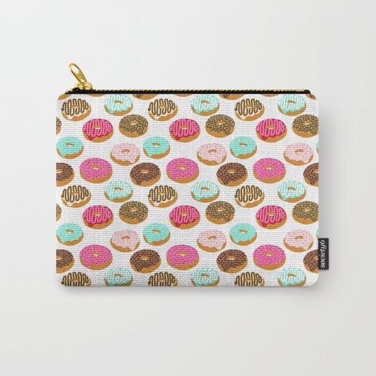 Donuts art print junk food pattern design kids minimal modern kitchen baking breakfast hipster baker Carry-All Pouch