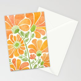 Happy California Poppies / hand drawn flowers Stationery Cards