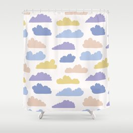 Hand drawn vector cloud illustration. Seamless repeating pattern Shower Curtain