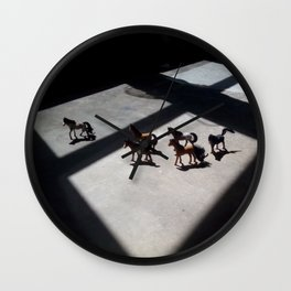 Tiny Toy Horses Roam Free Wall Clock