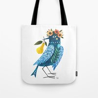 oana befort Tote Bags featuring BLUE BIRD by Oana Befort