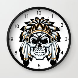 skull indian chief with feather hat Wall Clock