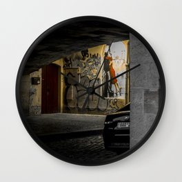 Prague street art lover's kissing at night Wall Clock