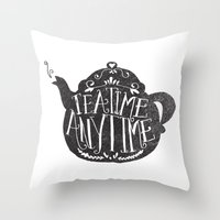 tea Throw Pillows featuring TEA TIME. ANY TIME. by Matthew Taylor Wilson
