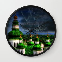 Domes of Trinity Cathedral, Chernigov, Ukraine Wall Clock
