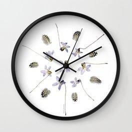 purple violets, guinea fowl feathers... wildflower mandala Wall Clock