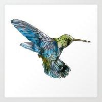 hummingbird Art Prints featuring Hummingbird by madbiffymorghulis
