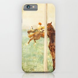 Jockeys Before The Start With Flagpoll 1879 By Edgar Degas | Reproduction | Famous French Painter iPhone Case