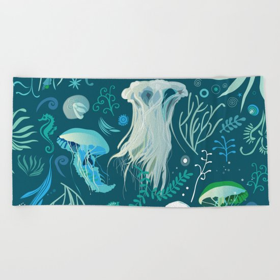 Aqua pattern Beach Towel