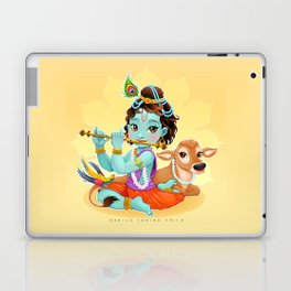 Baby Krishna with sacred cow Laptop & iPad Skin