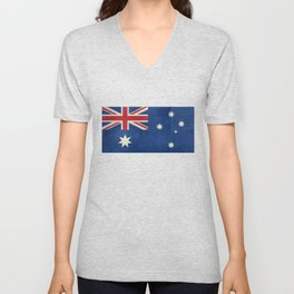 "Australian flag, retro ""folded"" textured version (authentic scale 1:2) Unisex V-Neck"