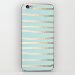 Simply Drawn Stripes White Gold Sands on Succulent Blue iPhone Skin