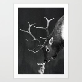Elk and Rabbit Art Print
