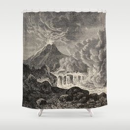 The infinitely great and the infinitely little - Félix Pouchet - 1874 Ink Volcano Illustration Shower Curtain