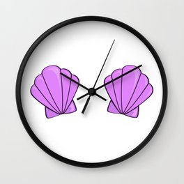 sea shell bra purple Wall Clock