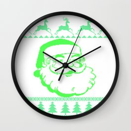 Santa Face Ugly Sweater Wall Clock