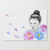 peony Canvas Prints featuring Peony by Libby Watkins Illustration