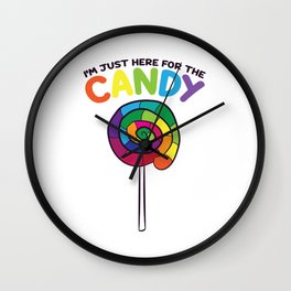 I'm Just Here For The Candy Lollipop Bag of Sweets Lolly Wall Clock