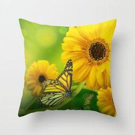 Lovely Wonderful Yellow Blossoms Insect Dreamy UHD Throw Pillow