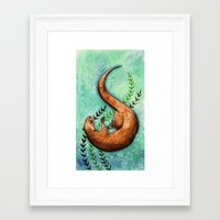 otter Framed Art Prints featuring Otter by Georgia Roberts
