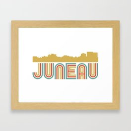 Vintage Style Juneau Alaska Skyline Framed Art Print
