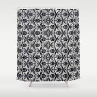 damask Shower Curtains featuring Black Damask  by Elena Indolfi
