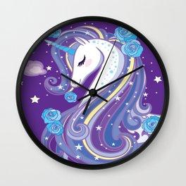 Magical Unicorn in Purple Sky Wall Clock