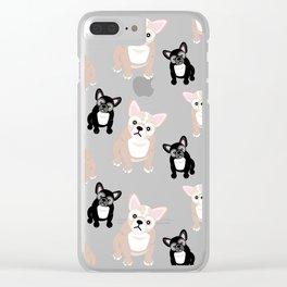 Cute French Bulldog Pattern Clear iPhone Case