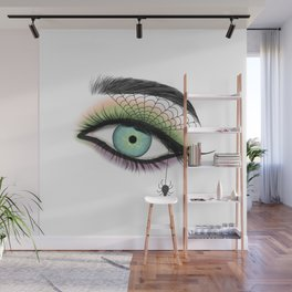 Female Eye With A Spider Web Wall Mural