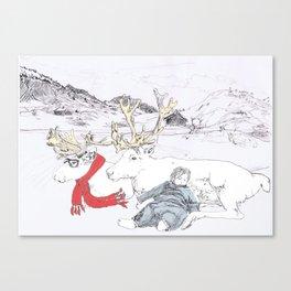 Reindeer in a scarf Canvas Print