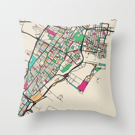 Colorful City Maps: Jersey City, New Jersey Throw Pillow