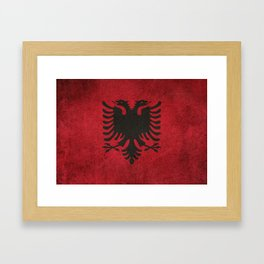 Old and Worn Distressed Vintage Flag of Albania Framed Art Print
