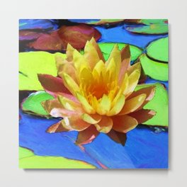 YELLOW WATER LILIES POND GREEN LILY PADS Metal Print
