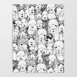 just alpacas black white Poster